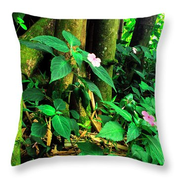 Bamboo And Impatiens El Yunque National Forest Throw Pillow by Thomas R Fletcher