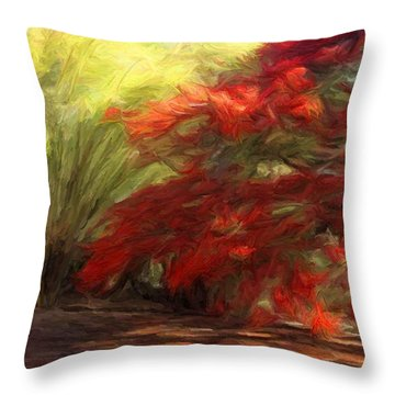 Bamboo And The Flamboyant Throw Pillow