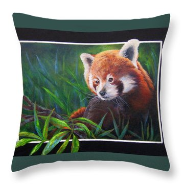 Throw Pillow featuring the painting Bamboo Basking--red Panda by Mary McCullah