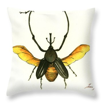 Bamboo Beetle Throw Pillow by Juan Bosco