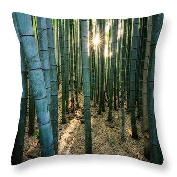 Bamboo Forest At Arashiyama Throw Pillow