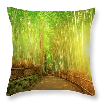 Bamboo Grove Arashiyama Kyoto Throw Pillow