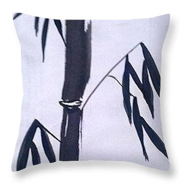 Bamboo In Black And White Throw Pillow