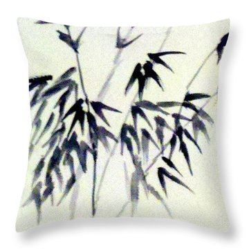 Bamboo In Black Ink Throw Pillow
