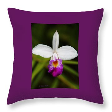 Bamboo Orchid  Throw Pillow by Kerri Ligatich