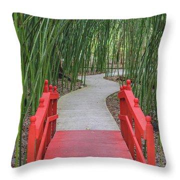 Bamboo Path Through A Red Bridge Throw Pillow