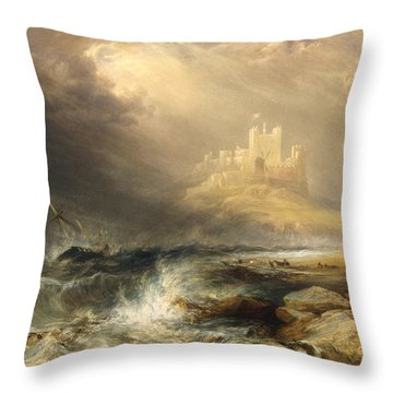 Bamborough Castle Throw Pillow by Willliam Andrews Nesfield