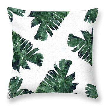 Banan Leaf Watercolor Throw Pillow by Uma Gokhale