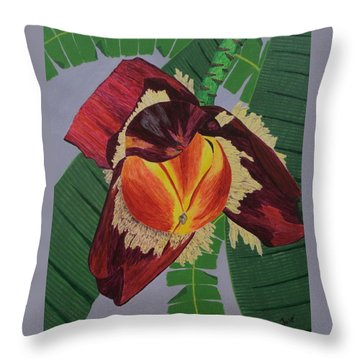 Throw Pillow featuring the painting Banana Blossom by Hilda and Jose Garrancho