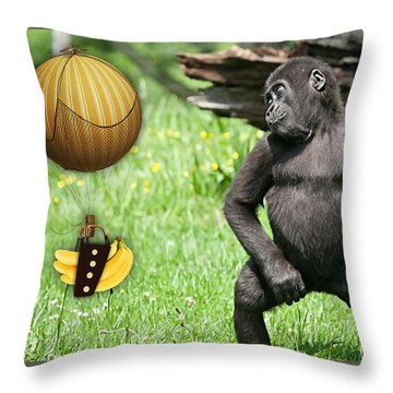 Banana Delivery Service Throw Pillow by Marvin Blaine