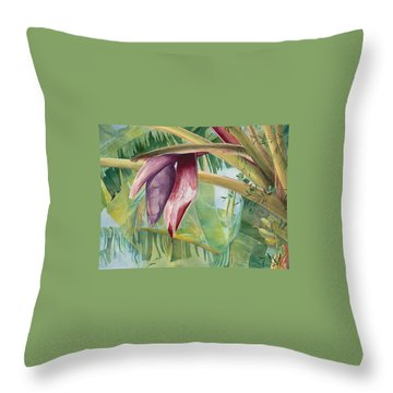 Throw Pillow featuring the painting Banana Flower by AnnaJo Vahle