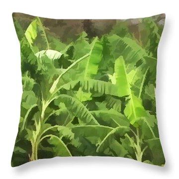 Banana Plantation Throw Pillow by Lanjee Chee