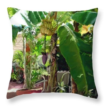 Banana Tree Throw Pillow