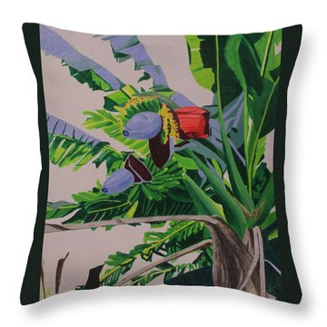 Throw Pillow featuring the painting Bananas by Hilda and Jose Garrancho