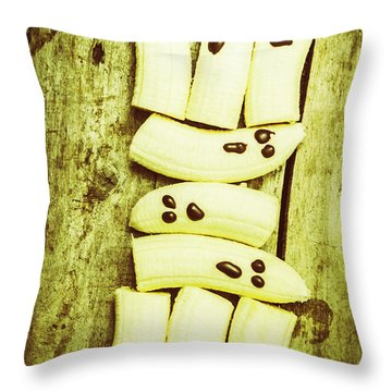 Bananas With Painted Chocolate Faces Throw Pillow