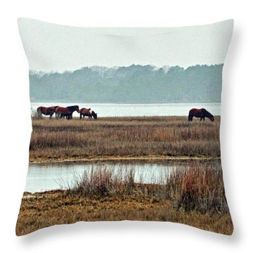 Band Of Wild Horses Along Sinepuxent Bay Throw Pillow