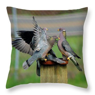 Throw Pillow featuring the photograph Band-tailed Pigeons #1 by Ben Upham III