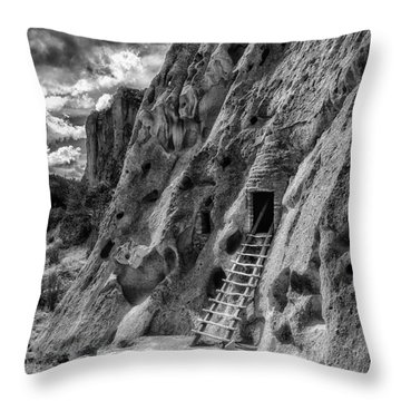Throw Pillow featuring the photograph Bandelier Cavate by Bitter Buffalo Photography