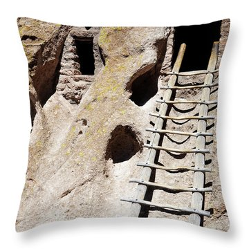 Throw Pillow featuring the photograph Bandelier Desert Ladder by Andrea Hazel Ihlefeld