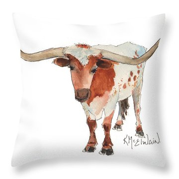 Texas Longhorn Bandero Watercolor Painting By Kmcelwaine Throw Pillow