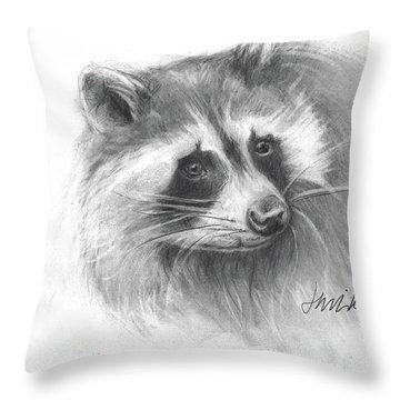 Bandit The Raccoon Throw Pillow