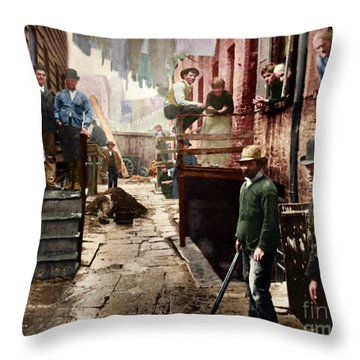 Bandit's Roost By Jacob Riis Colorized 20170701 Throw Pillow