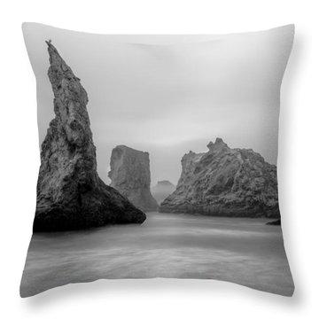 Bandon Beach In The Fog Throw Pillow