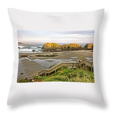 Bandon Beach Stairway Throw Pillow