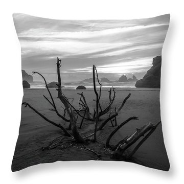 Bandon Beach Tree Throw Pillow