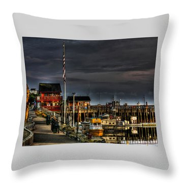 Throw Pillow featuring the photograph Bandon Boat Basin At Dawn by Thom Zehrfeld