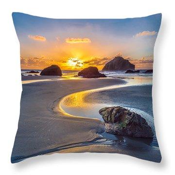 Bandon Face Rock Throw Pillow