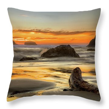Bandon Orange Glow Sunset Throw Pillow