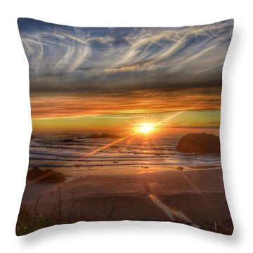 Throw Pillow featuring the photograph Bandon Sunset by Bonnie Bruno