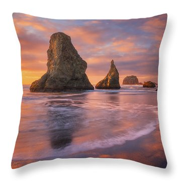 Throw Pillow featuring the photograph Bandon's New Years Eve Light Show by Darren White