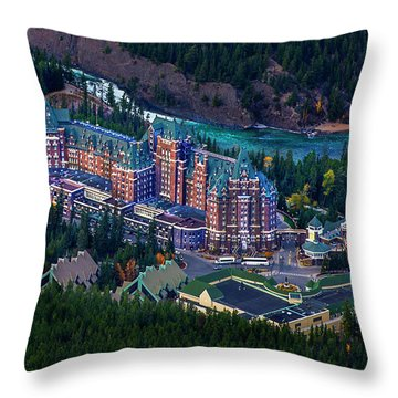 Banff Springs Hotel Throw Pillow by John Poon