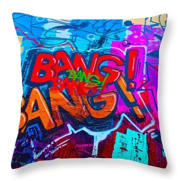 Bang Graffiti Nyc 2014 Throw Pillow by Joan Reese
