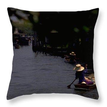 Bangkok Floating Market Throw Pillow