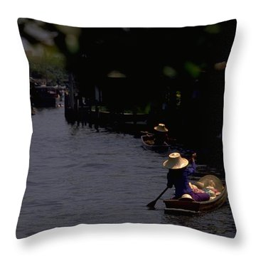 Bangkok Floating Market Throw Pillow