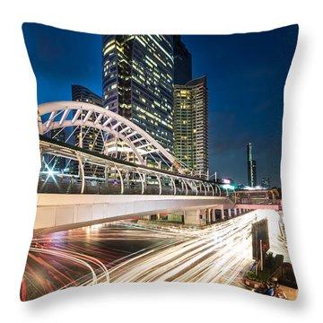 Bangkok Night Rush  Throw Pillow