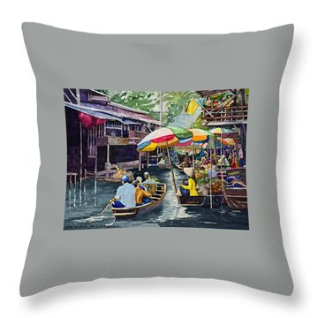 Bangkok's Floating Market Throw Pillow