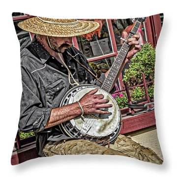 Throw Pillow featuring the photograph Banjo Man Orange by Jim Thompson