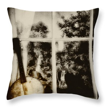 Banjo Mandolin In The Window In Black And White Throw Pillow by Bill Cannon
