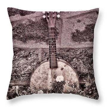 Banjo Mandolin On Garden Wall Throw Pillow by Bill Cannon
