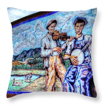 Banjo Mural Throw Pillow by Dale R Carlson