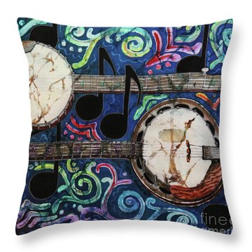 Banjos Throw Pillow by Sue Duda