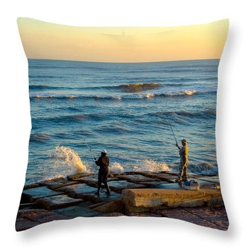 Bank Fishing Throw Pillow