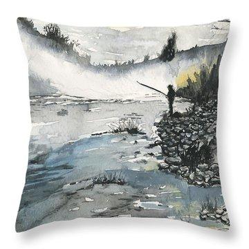 Bank Fishing Throw Pillow
