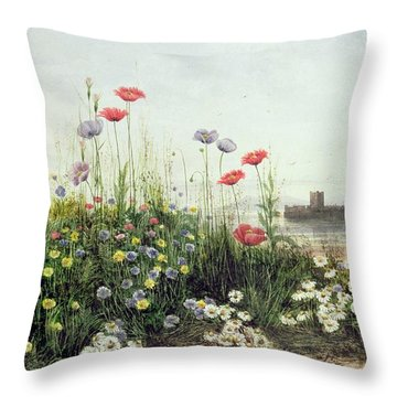 Bank Of Summer Flowers Throw Pillow by Andrew Nicholl