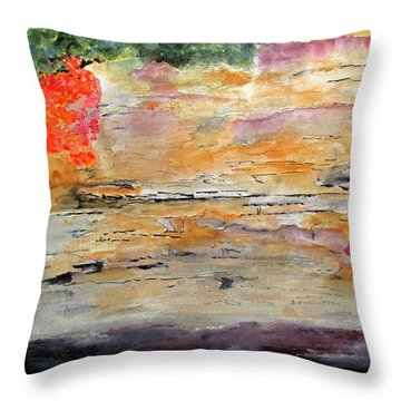 Throw Pillow featuring the painting Bank Of The Gauley River by Sandy McIntire