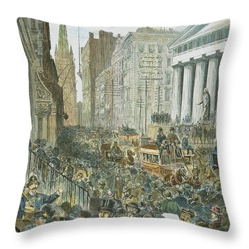 Bank Panic, 1884 Throw Pillow by Granger
